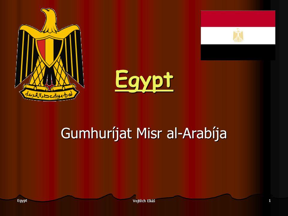 Vojtěch Eliáš 2 Egypt Lokalizace Poloha: nejvýchodnější stát severní Afriky, Sinajský poloostrov leží v Asii Moře: Středozemní a Rudé Sousedící státy: Libye, Súdán, Izrael Nejvyšší bod: Katherina 2637 m Nejnižší bod: Kattarská proláklina -133 m Největší vodní plocha: Násirovo jezero Nejdelší řeka: Nil 25°– 36° v.d.;22° – 32° s.š.