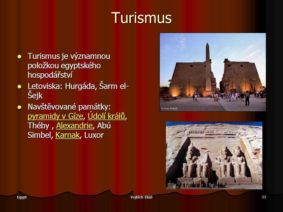 Vojtěch Eliáš 11 Egypt Turismus Turismus je významnou položkou egyptského hospodářství Letoviska: Hurgáda, Šarm el- Šejk Navštěvované památky: pppp yy