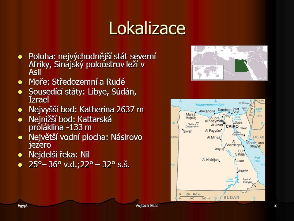 Vojtěch Eliáš 2 Egypt Lokalizace Poloha: nejvýchodnější stát severní Afriky, Sinajský poloostrov leží v Asii Moře: Středozemní a Rudé Sousedící státy: