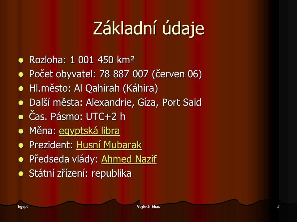 Vojtěch Eliáš 3 Egypt Základní údaje Rozloha: 1 001 450 km² Rozloha: 1 001 450 km² Počet obyvatel: 78 887 007 (červen 06) Počet obyvatel: 78 887 007 (