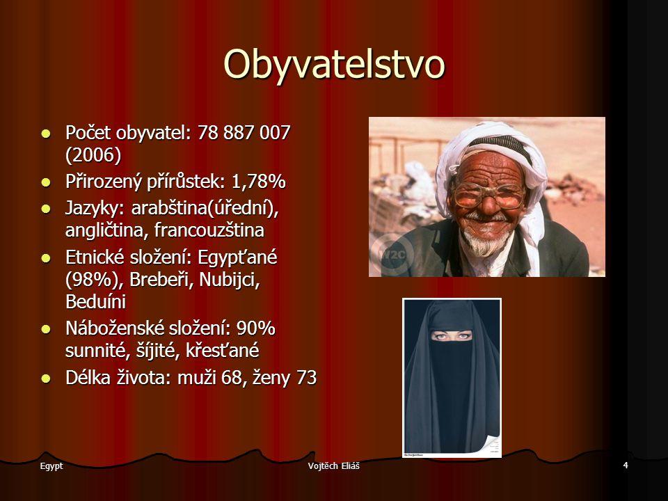 Vojtěch Eliáš 4 Egypt Obyvatelstvo Počet obyvatel: 78 887 007 (2006) Počet obyvatel: 78 887 007 (2006) Přirozený přírůstek: 1,78% Přirozený přírůstek: