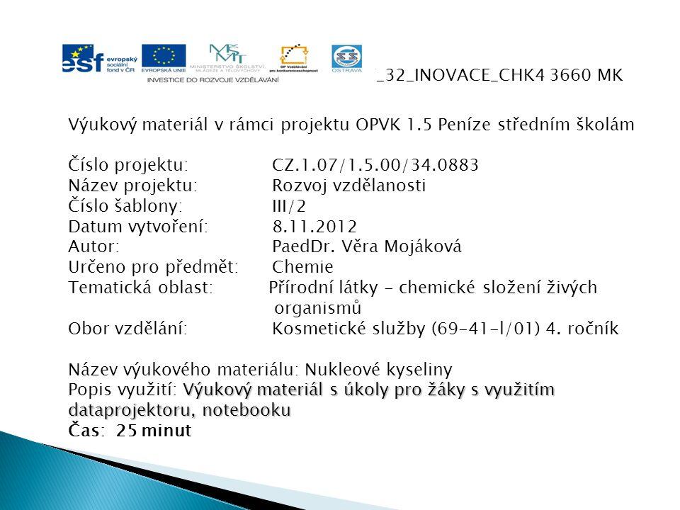 VY_32_INOVACE_CHK4 3660 MK Výukový materiál v rámci projektu OPVK 1.5 Peníze středním školám Číslo projektu:CZ.1.07/1.5.00/34.0883 Název projektu:Rozv