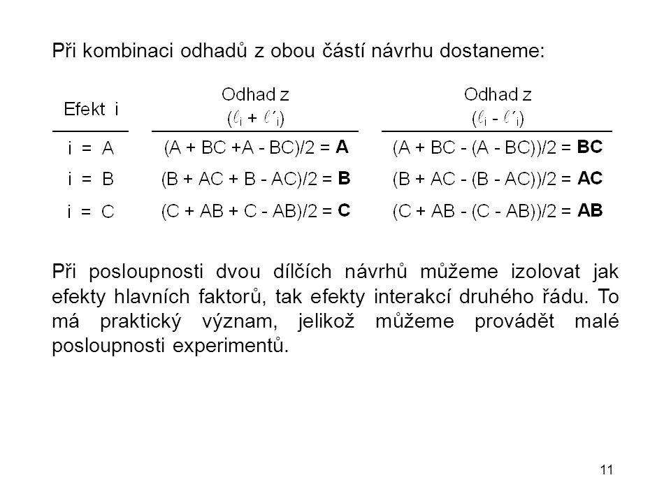11 Při kombinaci odhadů z obou částí návrhu dostaneme: Při posloupnosti dvou dílčích návrhů můžeme izolovat jak efekty hlavních faktorů, tak efekty in