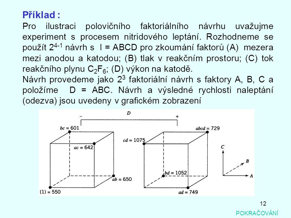 12 Příklad : Pro ilustraci polovičního faktoriálního návrhu uvažujme experiment s procesem nitridového leptání. Rozhodneme se použít 2 4-1 návrh s I =
