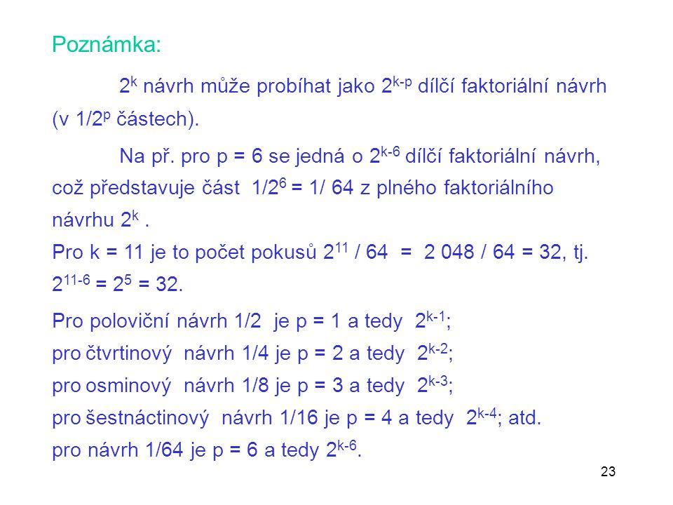 23 Poznámka: 2 k návrh může probíhat jako 2 k-p dílčí faktoriální návrh (v 1/2 p částech). Na př. pro p = 6 se jedná o 2 k-6 dílčí faktoriální návrh,