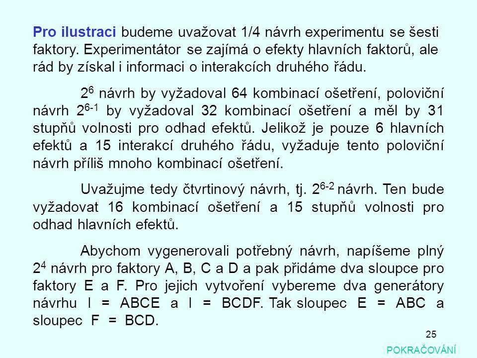 25 Pro ilustraci budeme uvažovat 1/4 návrh experimentu se šesti faktory. Experimentátor se zajímá o efekty hlavních faktorů, ale rád by získal i infor