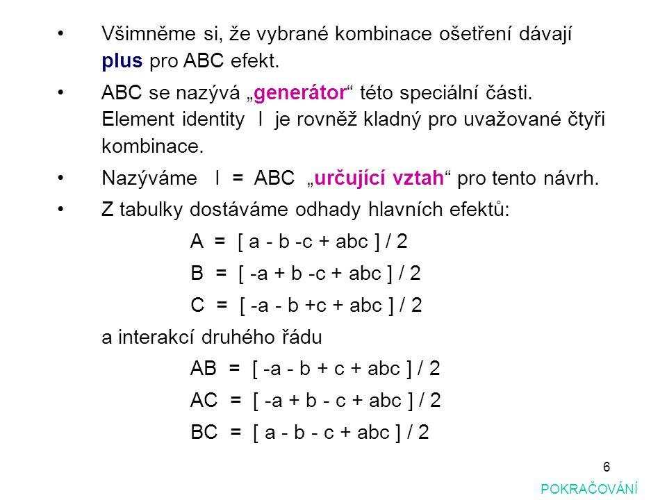 """27 POKRAČOVÁNÍ Pro nalezení úplného určujícího vztahu (complete defining relation), je třeba vynásobit všechny páry generátorů návrhů (v tomto případě jsou to pouze dva, tak že vynásobíme (ABCE)(BCDF) = ADEF) Pro nalezení úplného určujícího vztahu, ze kterého mohou být nalezeny všechny neoddělitelné efekty pro hlavní efekty a interakce je: I = ABCE = BCDF = ADEF Podle definice délka nejmenšího """"slova (word) v určujícím vztahu je rovněž typ rozlišení návrhu."""