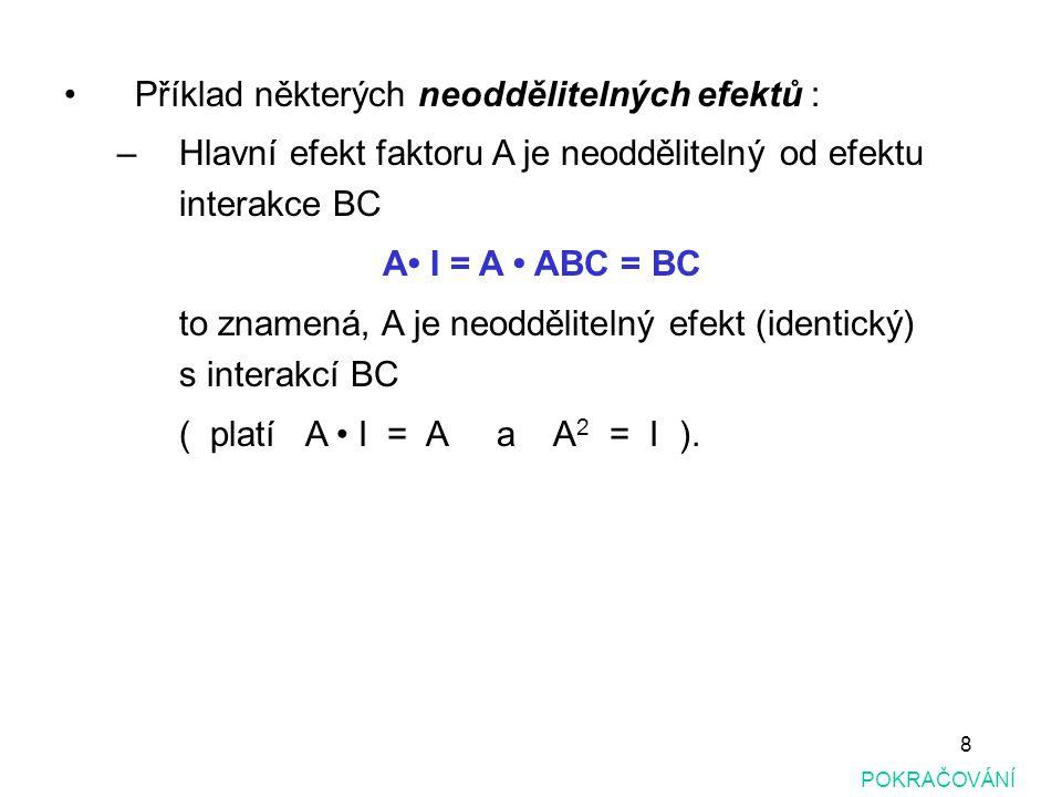 8 Příklad některých neoddělitelných efektů : –Hlavní efekt faktoru A je neoddělitelný od efektu interakce BC A I = A ABC = BC to znamená, A je neodděl
