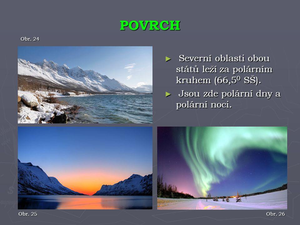 ► Severní oblasti obou států leží za polárním kruhem (66,5 0 SŠ). ► Jsou zde polární dny a polární noci. POVRCH Obr. 25 Obr. 24 Obr. 26
