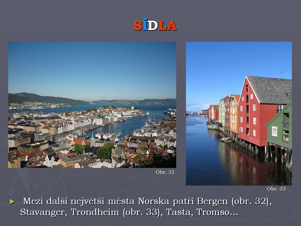 ► Mezi další největší města Norska patří Bergen (obr. 32), Stavanger, Trondheim (obr. 33), Tasta, Tromso… SÍDLA Obr. 32 Obr. 33