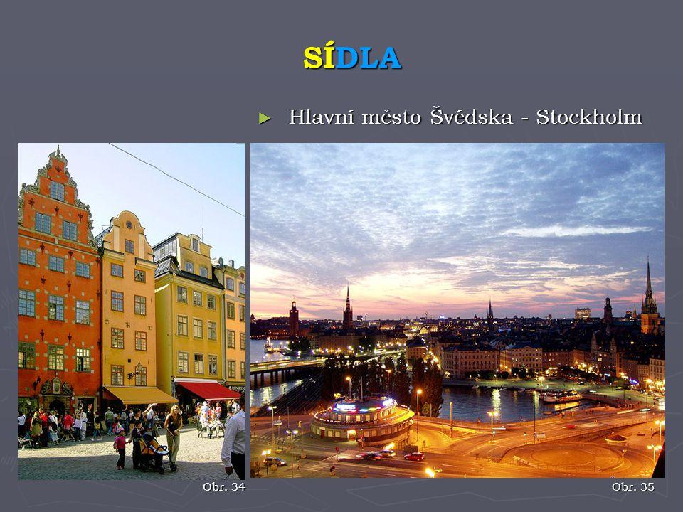 ► Hlavní město Švédska - Stockholm SÍDLA Obr. 34 Obr. 35