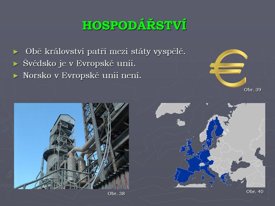 ► Obě království patří mezi státy vyspělé. ► Švédsko je v Evropské unii. ► Norsko v Evropské unii není. HOSPODÁŘSTVÍ Obr. 38 Obr. 40 Obr. 39
