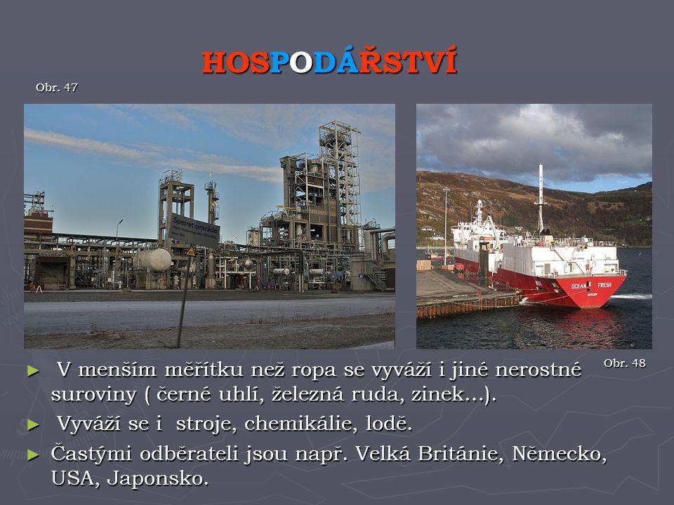► V menším měřítku než ropa se vyváží i jiné nerostné suroviny ( černé uhlí, železná ruda, zinek…). ► Vyváží se i stroje, chemikálie, lodě. ► Častými
