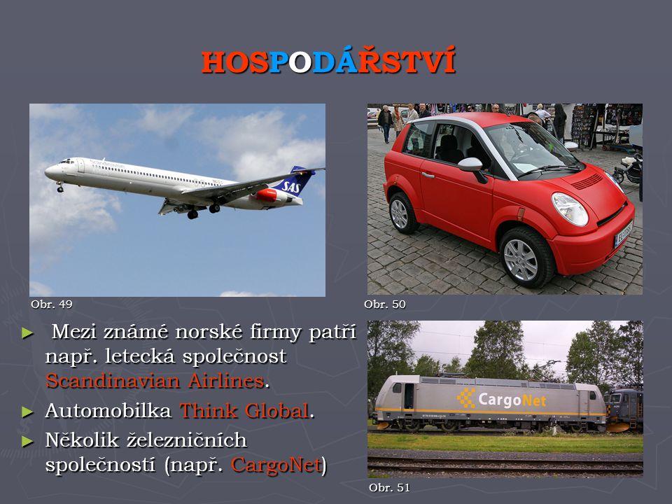 ► Mezi známé norské firmy patří např. letecká společnost Scandinavian Airlines. ► Automobilka Think Global. ► Několik železničních společností (např.