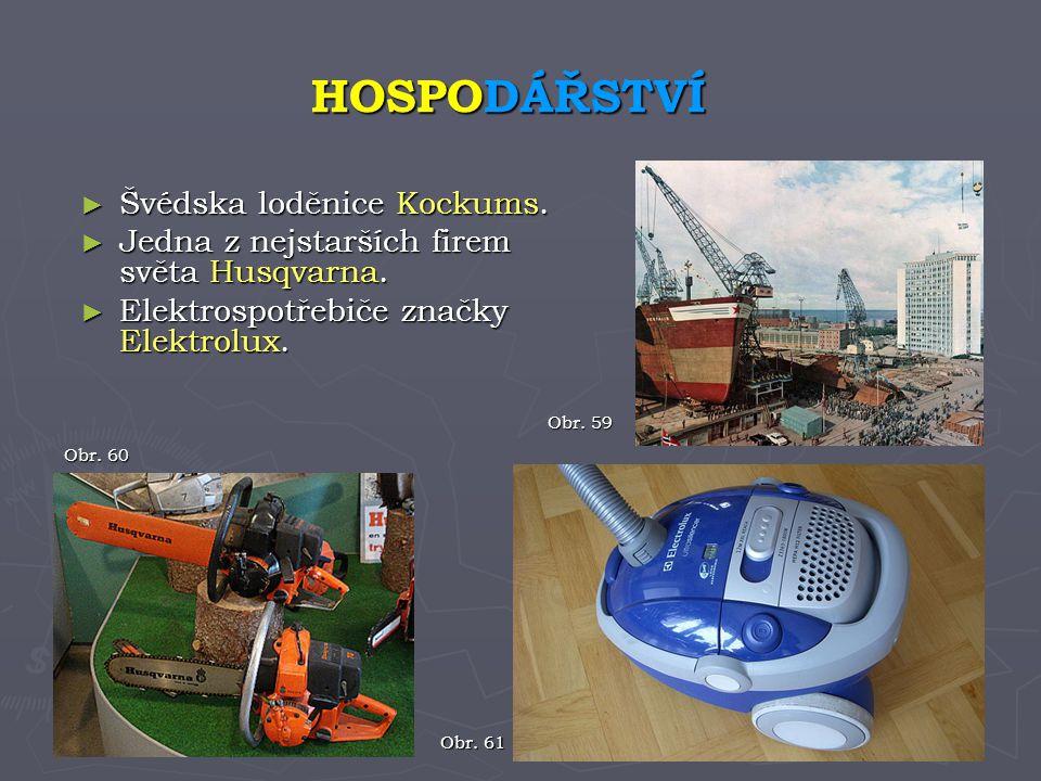 ► Švédska loděnice Kockums. ► Jedna z nejstarších firem světa Husqvarna. ► Elektrospotřebiče značky Elektrolux. HOSPODÁŘSTVÍ Obr. 60 Obr. 59 Obr. 61