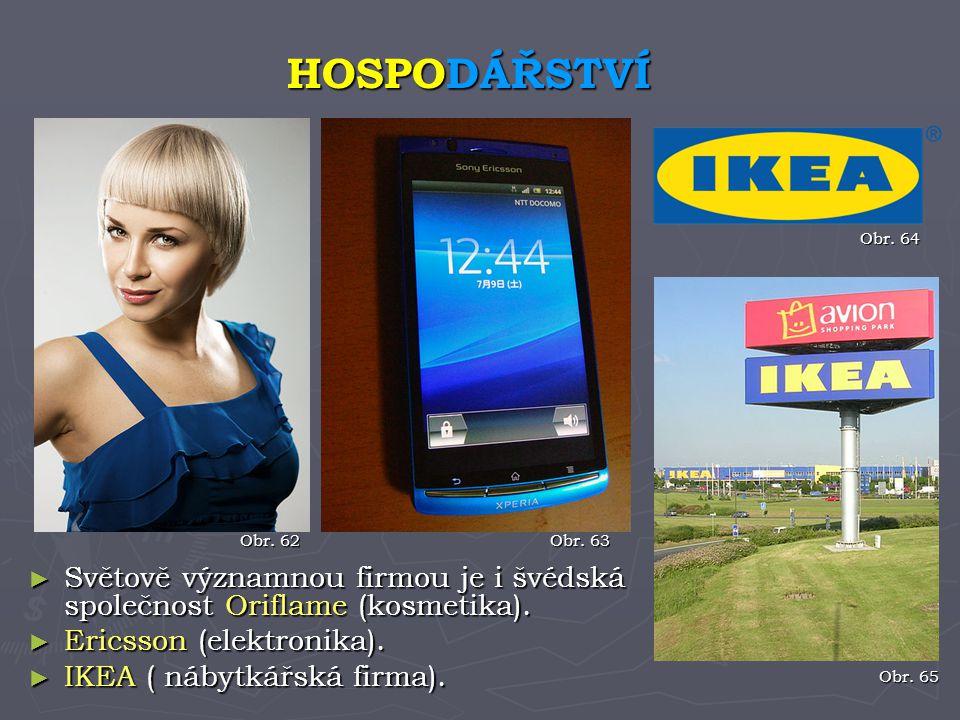 ► Světově významnou firmou je i švédská společnost Oriflame (kosmetika). ► Ericsson (elektronika). ► IKEA ( nábytkářská firma). HOSPODÁŘSTVÍ Obr. 62 O