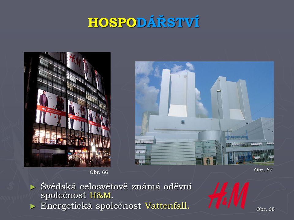 ► Švédská celosvětově známá oděvní společnost H&M. ► Energetická společnost Vattenfall. HOSPODÁŘSTVÍ Obr. 66 Obr. 67 Obr. 68