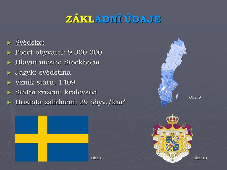 ► Švédsko: ► Počet obyvatel: 9 300 000 ► Hlavní město: Stockholm ► Jazyk: švédština ► Vznik státu: 1409 ► Státní zřízení: království ► Hustota zalidně