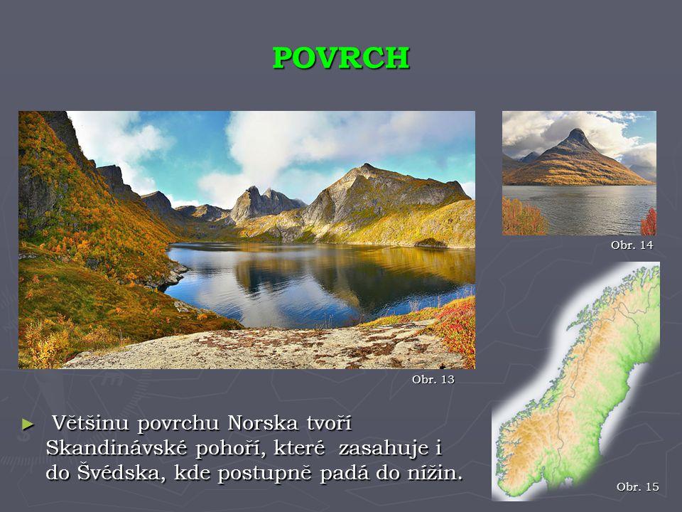 ► Většinu povrchu Norska tvoří Skandinávské pohoří, které zasahuje i do Švédska, kde postupně padá do nížin. POVRCH Obr. 15 Obr. 13 Obr. 14