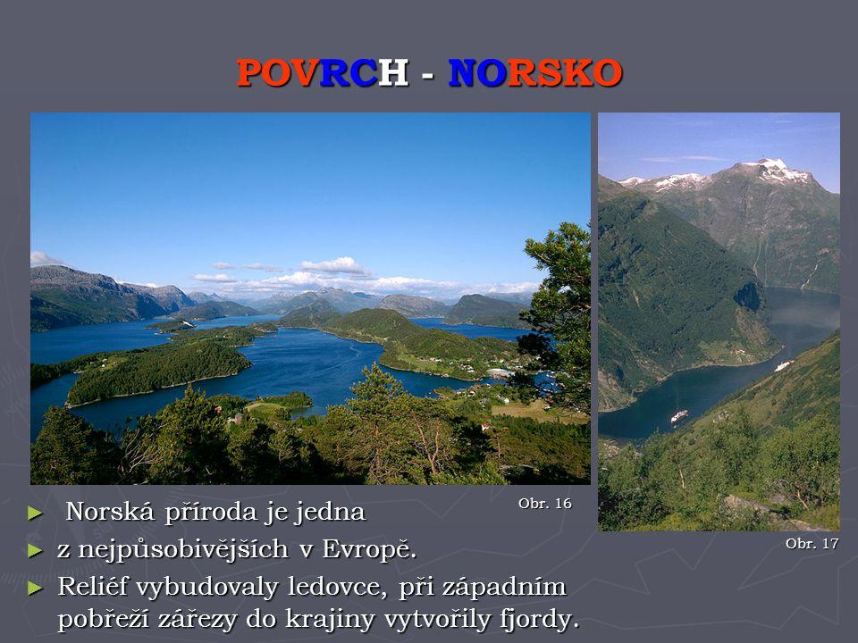 ► Norská příroda je jedna ► z nejpůsobivějších v Evropě. ► Reliéf vybudovaly ledovce, při západním pobřeží zářezy do krajiny vytvořily fjordy. POVRCH