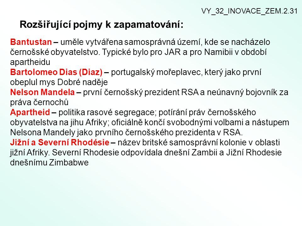 Rozšiřující pojmy k zapamatování: VY_32_INOVACE_ZEM.2.31 Bantustan – uměle vytvářena samosprávná území, kde se nacházelo černošské obyvatelstvo. Typic