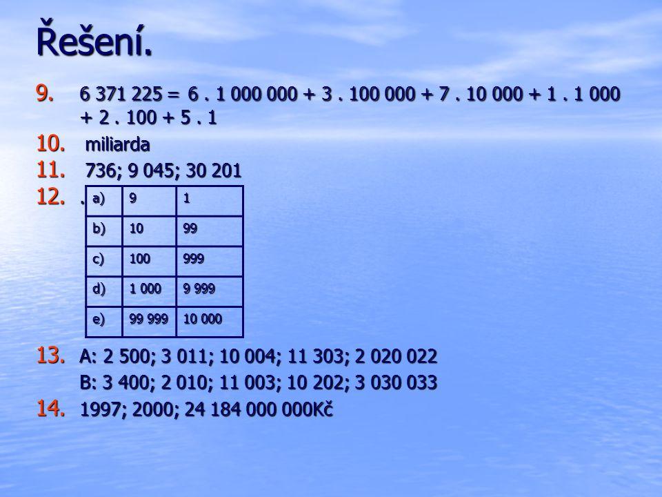 Řešení. 9. 6 371 225 = 6. 1 000 000 + 3. 100 000 + 7. 10 000 + 1. 1 000 + 2. 100 + 5. 1 10. miliarda 11. 736; 9 045; 30 201 12.. 13. A: 2 500; 3 011;