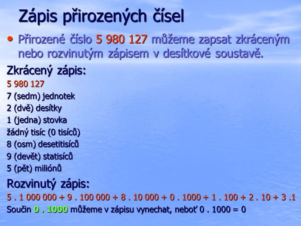 Zápis přirozených čísel Přirozené číslo 5 980 127 můžeme zapsat zkráceným nebo rozvinutým zápisem v desítkové soustavě. Přirozené číslo 5 980 127 může