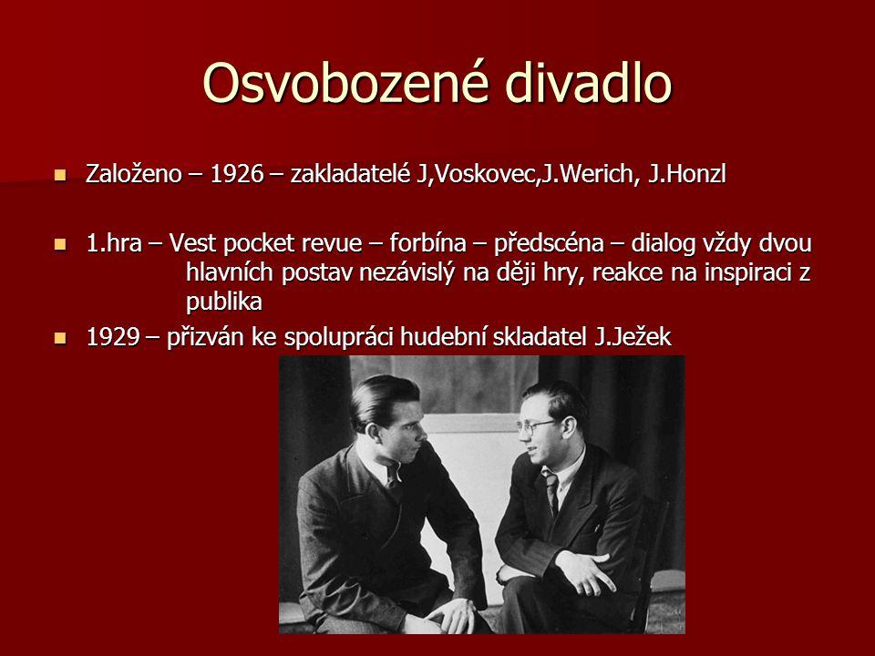 Osvobozené divadlo Založeno – 1926 – zakladatelé J,Voskovec,J.Werich, J.Honzl 1.hra – Vest pocket revue – forbína – předscéna – dialog vždy dvou hlavn