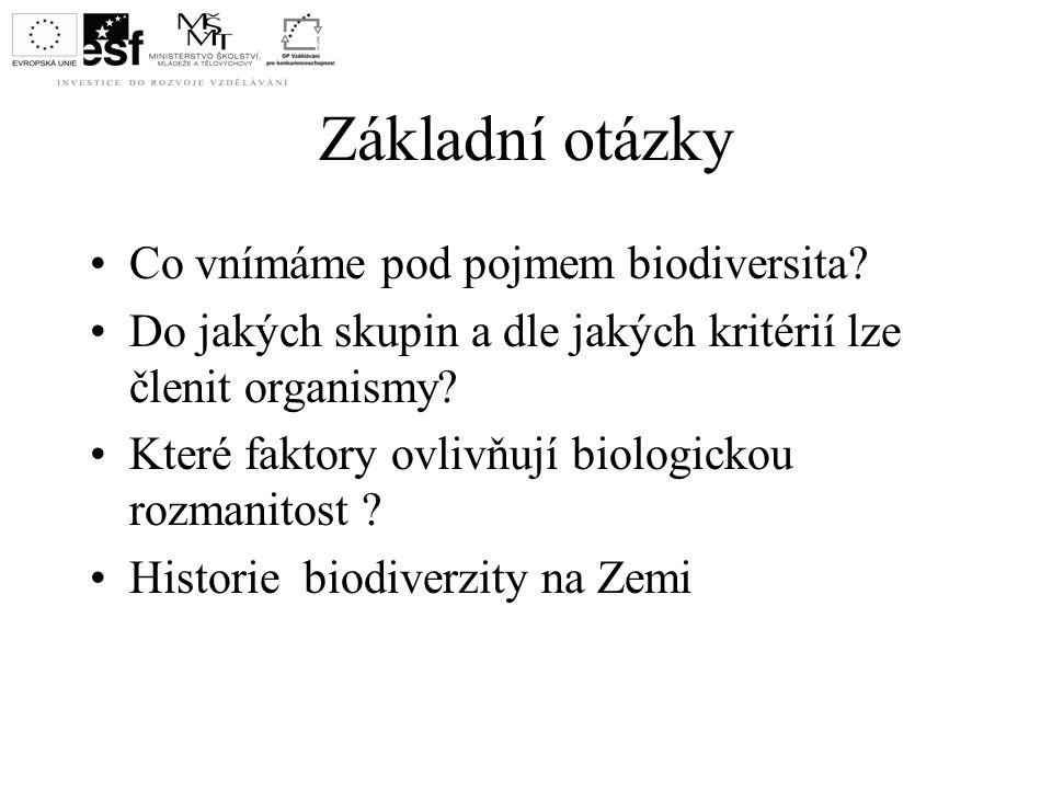 Základní otázky Co vnímáme pod pojmem biodiversita? Do jakých skupin a dle jakých kritérií lze členit organismy? Které faktory ovlivňují biologickou r