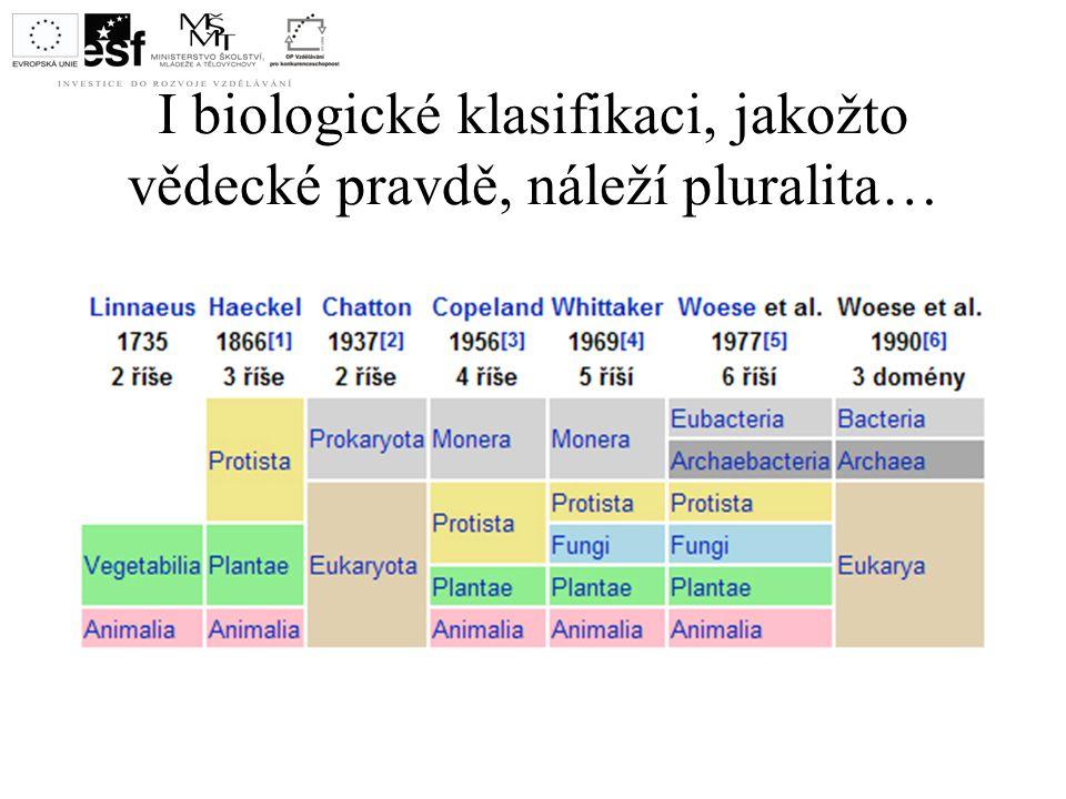 I biologické klasifikaci, jakožto vědecké pravdě, náleží pluralita…