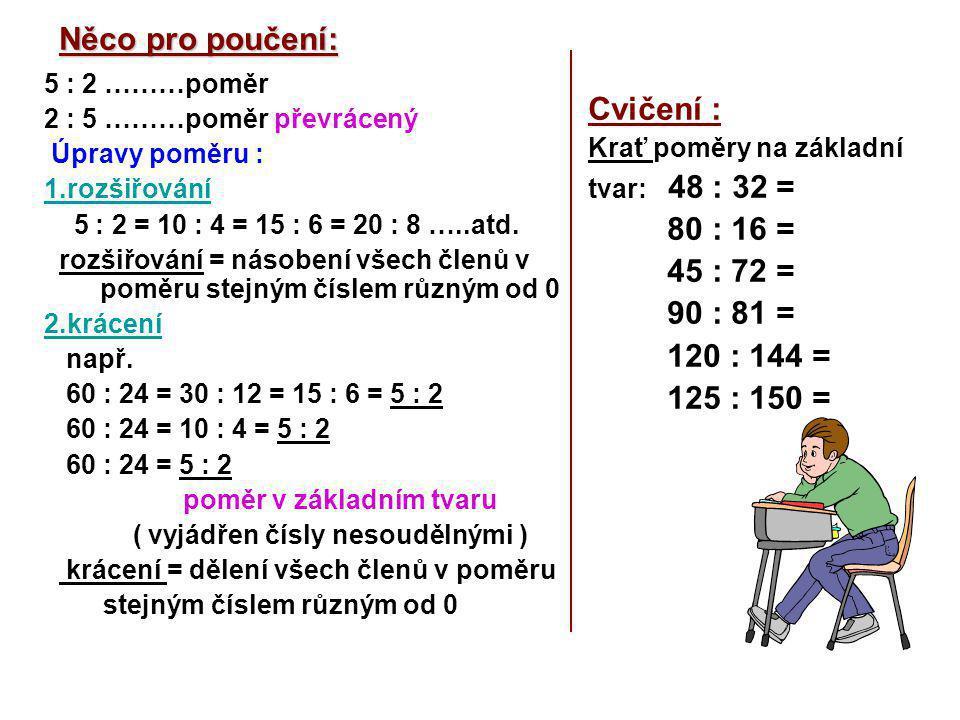 Něco pro poučení: 5 : 2 ………poměr 2 : 5 ………poměr převrácený Úpravy poměru : 1.rozšiřování 5 : 2 = 10 : 4 = 15 : 6 = 20 : 8 …..atd.