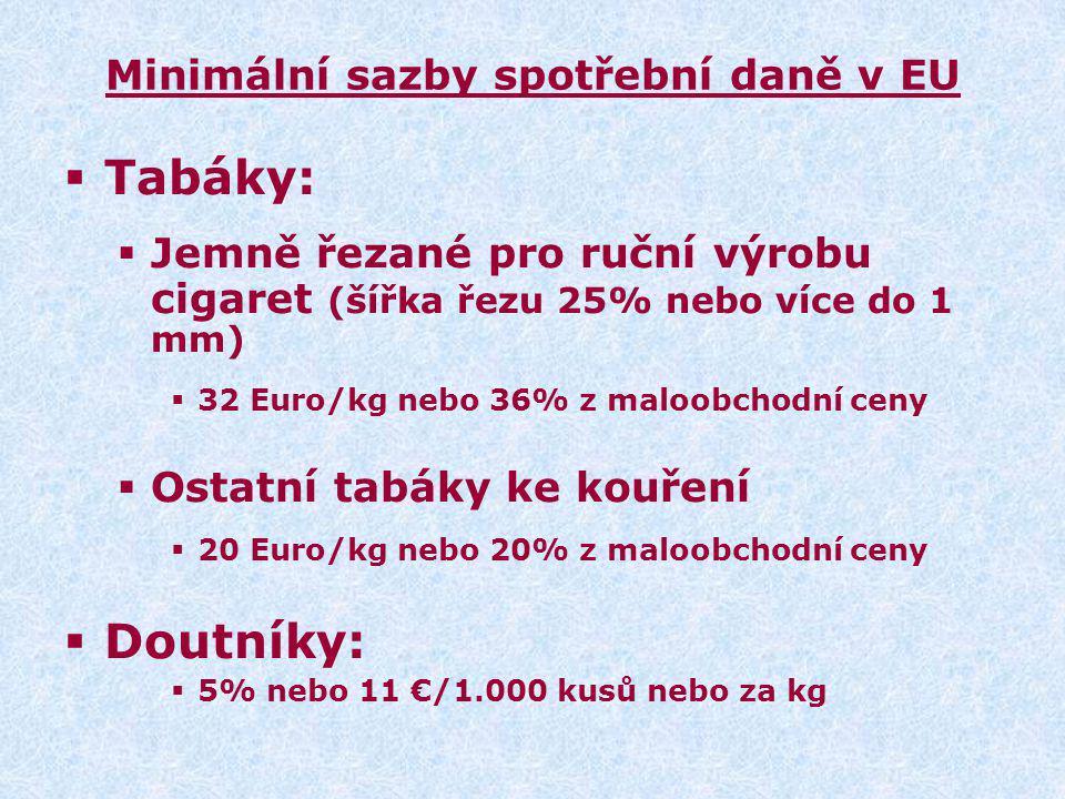 Minimální sazby spotřební daně v EU  Tabáky:  Jemně řezané pro ruční výrobu cigaret (šířka řezu 25% nebo více do 1 mm)  32 Euro/kg nebo 36% z maloobchodní ceny  Ostatní tabáky ke kouření  20 Euro/kg nebo 20% z maloobchodní ceny  Doutníky:  5% nebo 11 €/1.000 kusů nebo za kg
