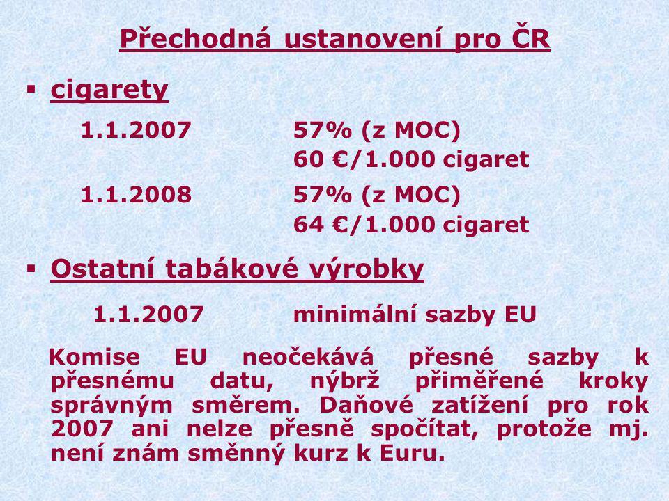 Přechodná ustanovení pro ČR  cigarety 1.1.200757% (z MOC) 60 €/1.000 cigaret 1.1.2008 57% (z MOC) 64 €/1.000 cigaret  Ostatní tabákové výrobky 1.1.2