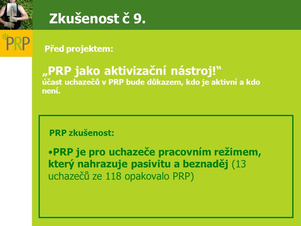 """""""PRP jako aktivizační nástroj! účast uchazečů v PRP bude důkazem, kdo je aktivní a kdo není."""