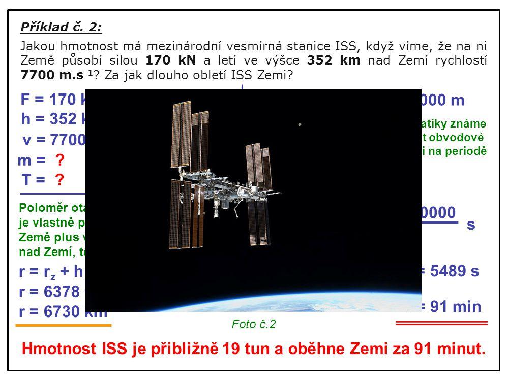 Příklad č. 2: Jakou hmotnost má mezinárodní vesmírná stanice ISS, když víme, že na ni Země působí silou 170 kN a letí ve výšce 352 km nad Zemí rychlos