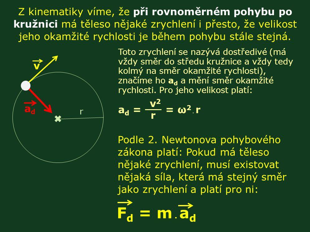 Z kinematiky víme, že při rovnoměrném pohybu po kružnici má těleso nějaké zrychlení i přesto, že velikost jeho okamžité rychlosti je během pohybu stále stejná.