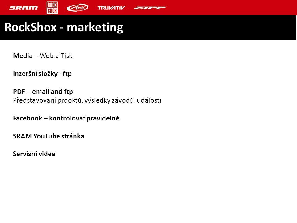 RockShox - marketing Media – Web a Tisk Inzeršní složky - ftp PDF – email and ftp Představování prdoktů, výsledky závodů, události Facebook – kontrolovat pravidelně SRAM YouTube stránka Servisní videa