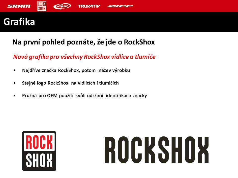 Nová grafika pro všechny RockShox vidlice a tlumiče Nejdříve značka RockShox, potom název výrobku Stejné logo RockShox na vidlicích i tlumičích Pružná pro OEM použití kvůli udržení identifikace značky Na první pohled poznáte, že jde o RockShox Grafika