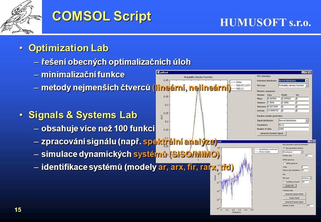 HUMUSOFT s.r.o. 15 COMSOL Script Optimization LabOptimization Lab –řešení obecných optimalizačních úloh –minimalizační funkce –metody nejmenších čtver