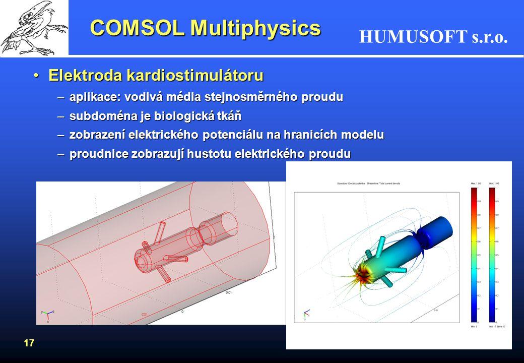 HUMUSOFT s.r.o. 17 COMSOL Multiphysics Elektroda kardiostimulátoruElektroda kardiostimulátoru –aplikace: vodivá média stejnosměrného proudu –subdoména