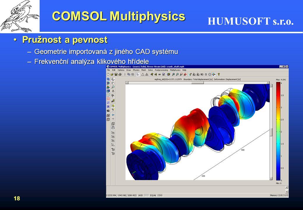 HUMUSOFT s.r.o. 18 Pružnost a pevnostPružnost a pevnost –Geometrie importovaná z jiného CAD systému –Frekvenční analýza klikového hřídele COMSOL Multi