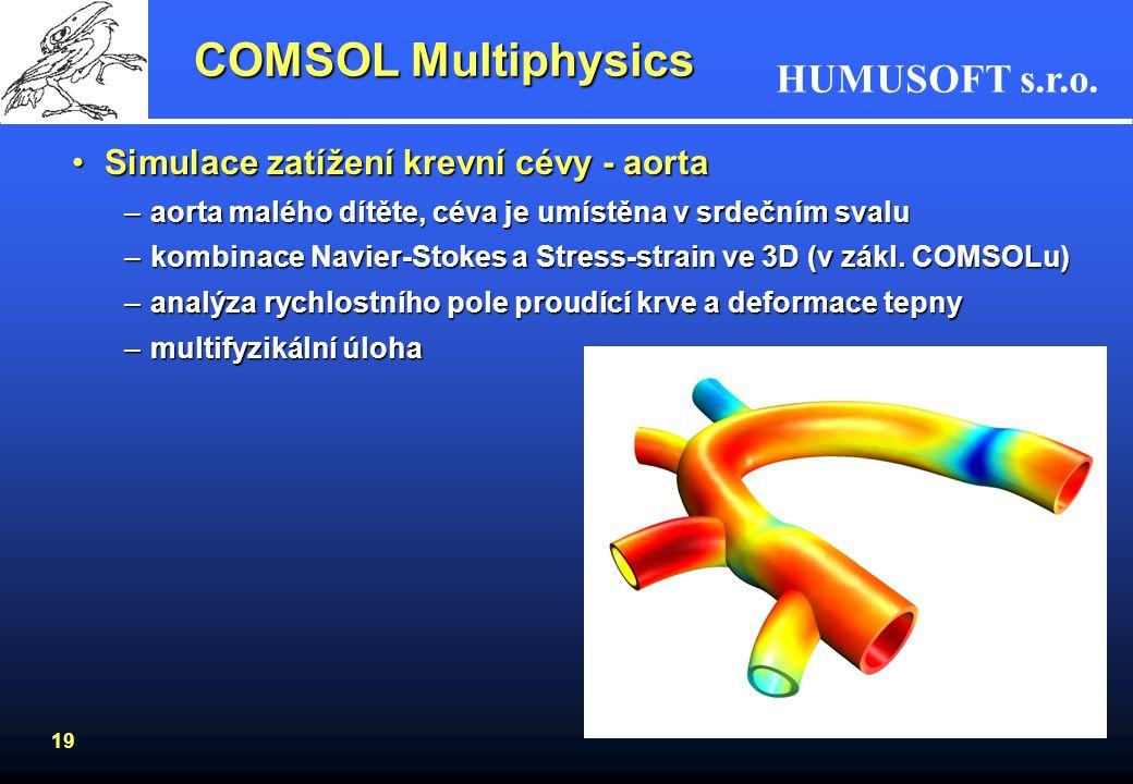 HUMUSOFT s.r.o. 19 COMSOL Multiphysics Simulace zatížení krevní cévy - aortaSimulace zatížení krevní cévy - aorta –aorta malého dítěte, céva je umístě