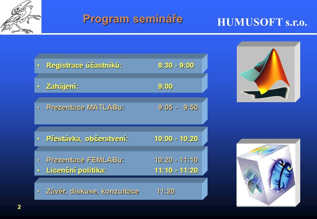 HUMUSOFT s.r.o. 2 Program semináře Registrace účastníků: 8:30 - 9:00Registrace účastníků: 8:30 - 9:00 Zahájení: 9:00Zahájení: 9:00 Prezentace MATLABu: