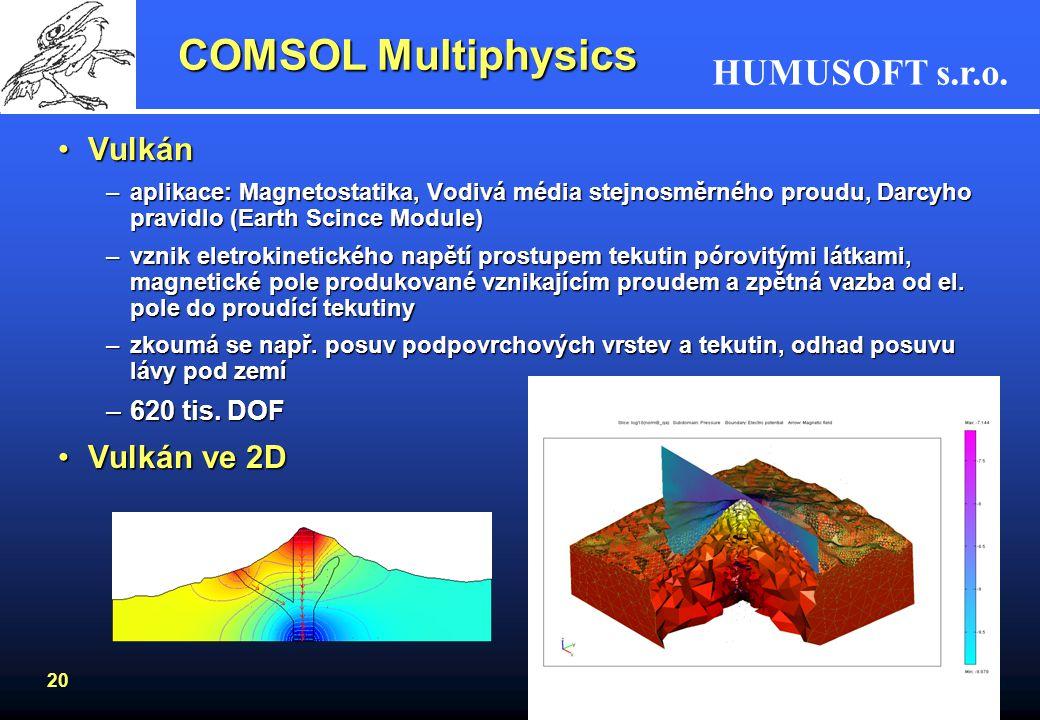 HUMUSOFT s.r.o. 20 COMSOL Multiphysics VulkánVulkán –aplikace: Magnetostatika, Vodivá média stejnosměrného proudu, Darcyho pravidlo (Earth Scince Modu