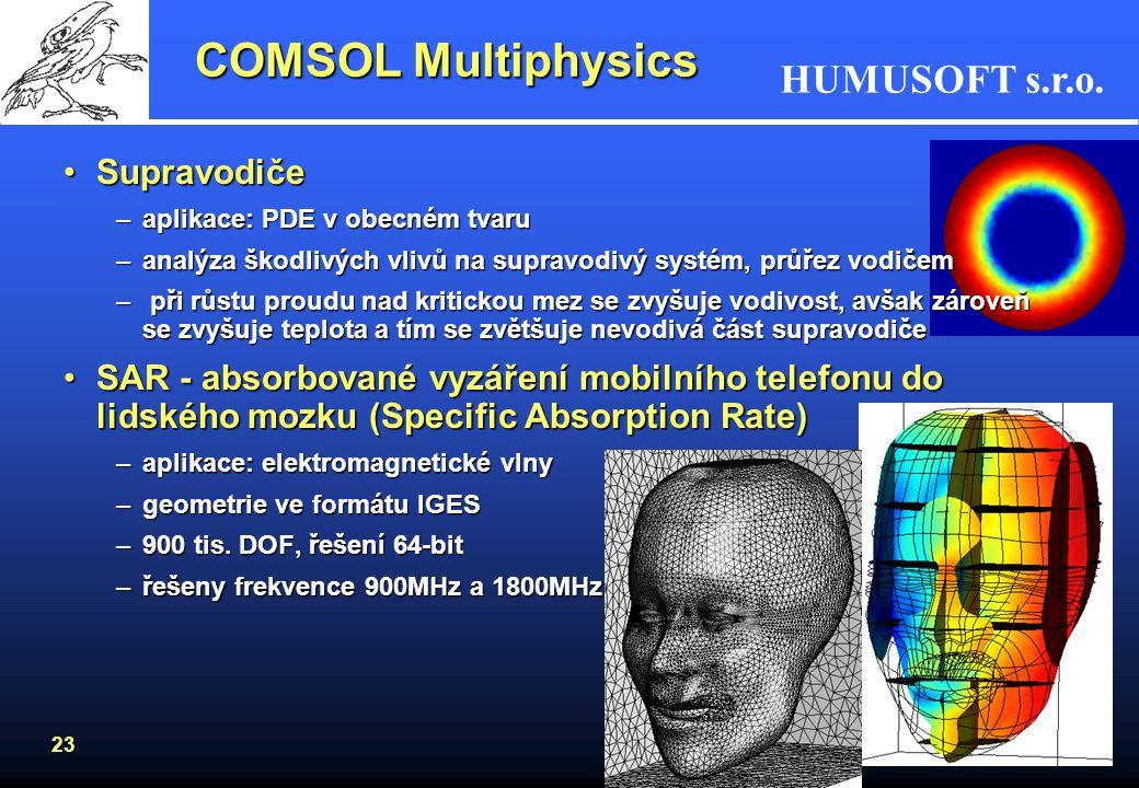 HUMUSOFT s.r.o. 23 COMSOL Multiphysics SupravodičeSupravodiče –aplikace: PDE v obecném tvaru –analýza škodlivých vlivů na supravodivý systém, průřez v