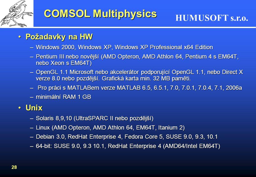 HUMUSOFT s.r.o. 28 COMSOL Multiphysics Požadavky na HWPožadavky na HW –Windows 2000, Windows XP, Windows XP Professional x64 Edition –Pentium III nebo