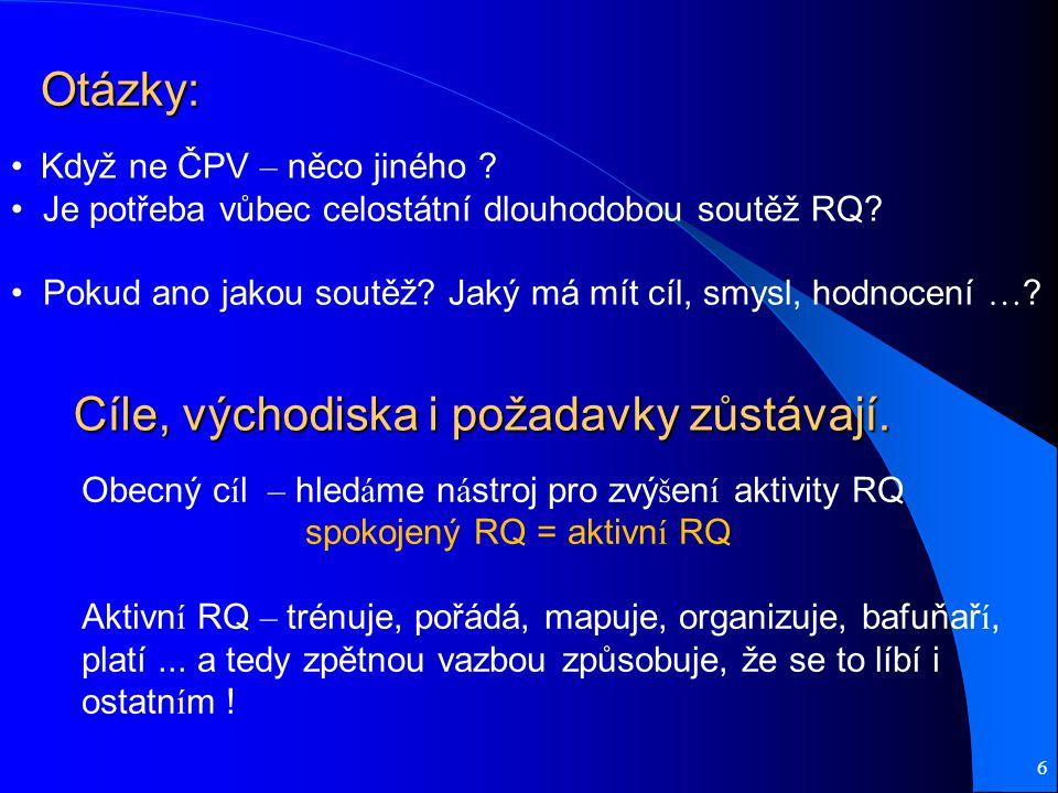 Cíle, východiska i požadavky zůstávají. 6 Když ne ČPV – něco jiného .