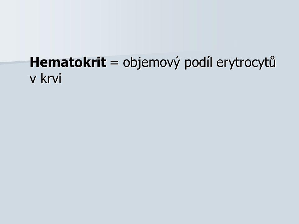 Hematokrit = objemový podíl erytrocytů v krvi