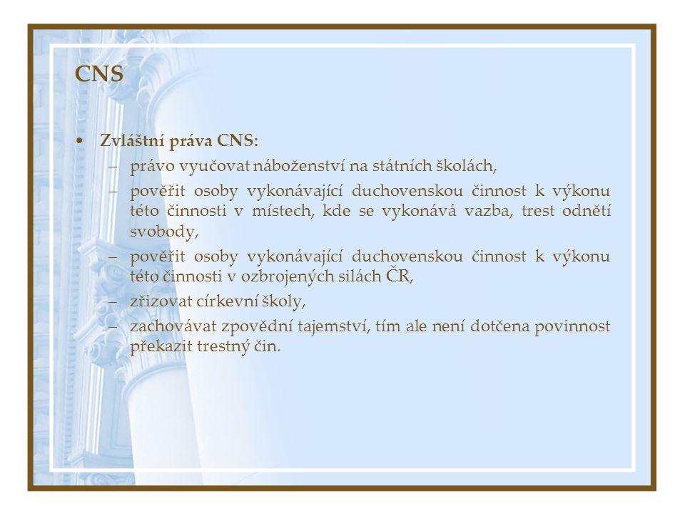 CNS Zvláštní práva CNS: –právo vyučovat náboženství na státních školách, –pověřit osoby vykonávající duchovenskou činnost k výkonu této činnosti v mís