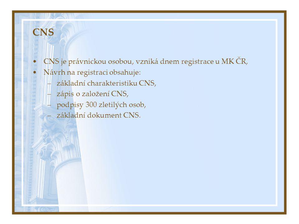 CNS CNS je právnickou osobou, vzniká dnem registrace u MK ČR, Návrh na registraci obsahuje: –základní charakteristiku CNS, –zápis o založení CNS, –pod
